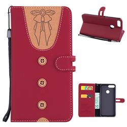 Ladies Bow Clothes Pattern Leather Wallet Phone Case for Huawei P Smart(Enjoy 7S) - Red