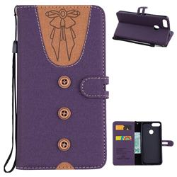 Ladies Bow Clothes Pattern Leather Wallet Phone Case for Huawei P Smart(Enjoy 7S) - Purple