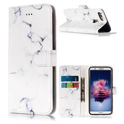 Soft White Marble PU Leather Wallet Case for Huawei P Smart(Enjoy 7S)