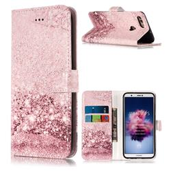 Glittering Rose Gold PU Leather Wallet Case for Huawei P Smart(Enjoy 7S)