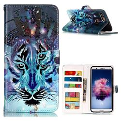Ice Wolf 3D Relief Oil PU Leather Wallet Case for Huawei P Smart(Enjoy 7S)