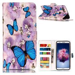 Purple Flowers Butterfly 3D Relief Oil PU Leather Wallet Case for Huawei P Smart(Enjoy 7S)