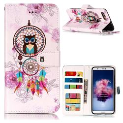 Wind Chimes Owl 3D Relief Oil PU Leather Wallet Case for Huawei P Smart(Enjoy 7S)