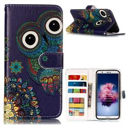 Folk Owl 3D Relief Oil PU Leather Wallet Case for Huawei P Smart(Enjoy 7S)