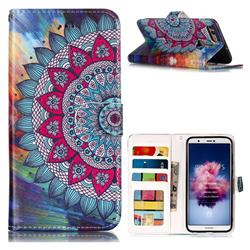 Mandala Flower 3D Relief Oil PU Leather Wallet Case for Huawei P Smart(Enjoy 7S)