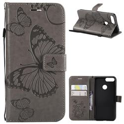 Embossing 3D Butterfly Leather Wallet Case for Huawei P Smart(Enjoy 7S) - Gray