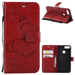 Embossing 3D Butterfly Leather Wallet Case for Huawei P Smart(Enjoy 7S) - Red