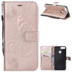 Embossing 3D Butterfly Leather Wallet Case for Huawei P Smart(Enjoy 7S) - Rose Gold