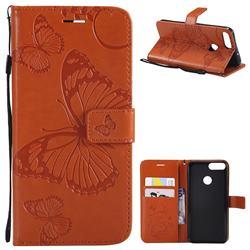 Embossing 3D Butterfly Leather Wallet Case for Huawei P Smart(Enjoy 7S) - Orange