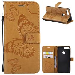 Embossing 3D Butterfly Leather Wallet Case for Huawei P Smart(Enjoy 7S) - Yellow