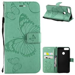 Embossing 3D Butterfly Leather Wallet Case for Huawei P Smart(Enjoy 7S) - Green