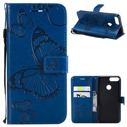 Embossing 3D Butterfly Leather Wallet Case for Huawei P Smart(Enjoy 7S) - Blue