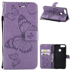 Embossing 3D Butterfly Leather Wallet Case for Huawei P Smart(Enjoy 7S) - Purple