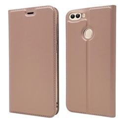 Ultra Slim Card Magnetic Automatic Suction Leather Wallet Case for Huawei P Smart(Enjoy 7S) - Rose Gold