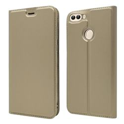 Ultra Slim Card Magnetic Automatic Suction Leather Wallet Case for Huawei P Smart(Enjoy 7S) - Champagne