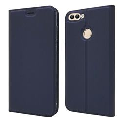 Ultra Slim Card Magnetic Automatic Suction Leather Wallet Case for Huawei P Smart(Enjoy 7S) - Royal Blue