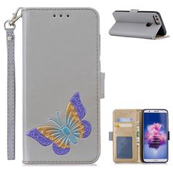 Imprint Embossing Butterfly Leather Wallet Case for Huawei P Smart(Enjoy 7S) - Grey
