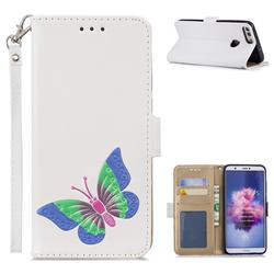 Imprint Embossing Butterfly Leather Wallet Case for Huawei P Smart(Enjoy 7S) - White