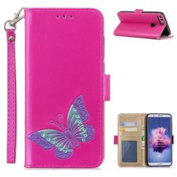 Imprint Embossing Butterfly Leather Wallet Case for Huawei P Smart(Enjoy 7S) - Rose Red