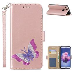 Imprint Embossing Butterfly Leather Wallet Case for Huawei P Smart(Enjoy 7S) - Rose Gold