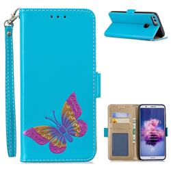Imprint Embossing Butterfly Leather Wallet Case for Huawei P Smart(Enjoy 7S) - Sky Blue