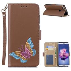 Imprint Embossing Butterfly Leather Wallet Case for Huawei P Smart(Enjoy 7S) - Brown