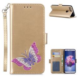 Imprint Embossing Butterfly Leather Wallet Case for Huawei P Smart(Enjoy 7S) - Golden