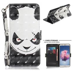 Angry Bear 3D Painted Leather Wallet Phone Case for Huawei P Smart(Enjoy 7S)
