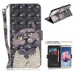 Cat Embrace 3D Painted Leather Wallet Phone Case for Huawei P Smart(Enjoy 7S)