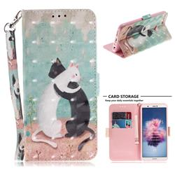 Black and White Cat 3D Painted Leather Wallet Phone Case for Huawei P Smart(Enjoy 7S)