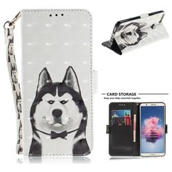 Husky Dog 3D Painted Leather Wallet Phone Case for Huawei P Smart(Enjoy 7S)
