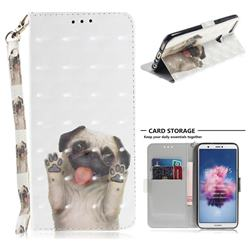 Pug Dog 3D Painted Leather Wallet Phone Case for Huawei P Smart(Enjoy 7S)