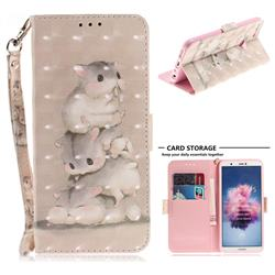Three Squirrels 3D Painted Leather Wallet Phone Case for Huawei P Smart(Enjoy 7S)