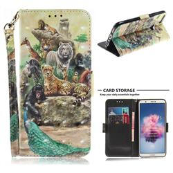 Beast Zoo 3D Painted Leather Wallet Phone Case for Huawei P Smart(Enjoy 7S)