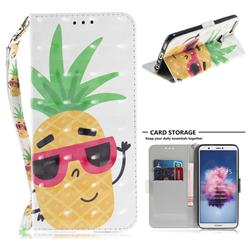 Pineapple Glasses 3D Painted Leather Wallet Phone Case for Huawei P Smart(Enjoy 7S)