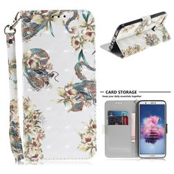 Dragon Flower 3D Painted Leather Wallet Phone Case for Huawei P Smart(Enjoy 7S)
