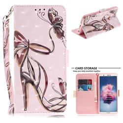 Butterfly High Heels 3D Painted Leather Wallet Phone Case for Huawei P Smart(Enjoy 7S)