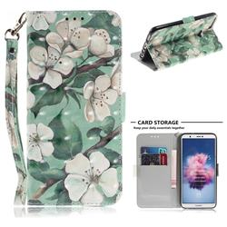 Watercolor Flower 3D Painted Leather Wallet Phone Case for Huawei P Smart(Enjoy 7S)