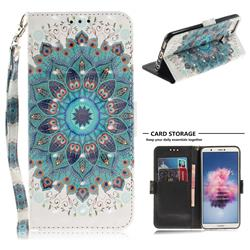 Peacock Mandala 3D Painted Leather Wallet Phone Case for Huawei P Smart(Enjoy 7S)