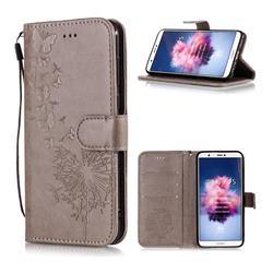 Intricate Embossing Dandelion Butterfly Leather Wallet Case for Huawei P Smart(Enjoy 7S) - Gray