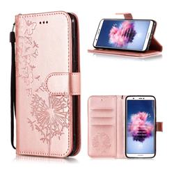 Intricate Embossing Dandelion Butterfly Leather Wallet Case for Huawei P Smart(Enjoy 7S) - Rose Gold