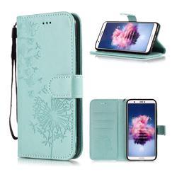 Intricate Embossing Dandelion Butterfly Leather Wallet Case for Huawei P Smart(Enjoy 7S) - Green