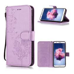 Intricate Embossing Dandelion Butterfly Leather Wallet Case for Huawei P Smart(Enjoy 7S) - Purple