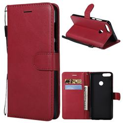 Retro Greek Classic Smooth PU Leather Wallet Phone Case for Huawei P Smart(Enjoy 7S) - Red