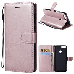 Retro Greek Classic Smooth PU Leather Wallet Phone Case for Huawei P Smart(Enjoy 7S) - Rose Gold