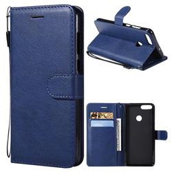 Retro Greek Classic Smooth PU Leather Wallet Phone Case for Huawei P Smart(Enjoy 7S) - Blue
