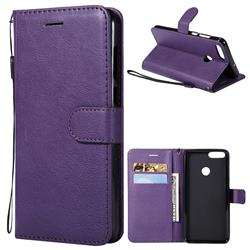 Retro Greek Classic Smooth PU Leather Wallet Phone Case for Huawei P Smart(Enjoy 7S) - Purple