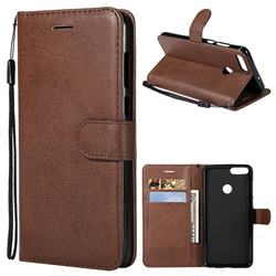 Retro Greek Classic Smooth PU Leather Wallet Phone Case for Huawei P Smart(Enjoy 7S) - Brown