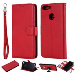 Retro Greek Detachable Magnetic PU Leather Wallet Phone Case for Huawei P Smart(Enjoy 7S) - Red
