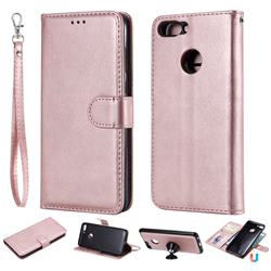 Retro Greek Detachable Magnetic PU Leather Wallet Phone Case for Huawei P Smart(Enjoy 7S) - Rose Gold